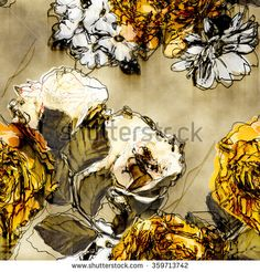 art vintage monochrome watercolor and graphic floral seamless pattern with white, black and yellow gold roses, asters and phlox on beige background
