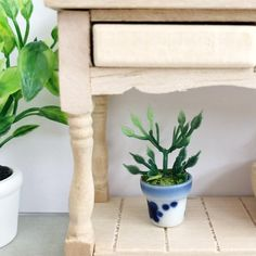 Pretty Little Minis - modern dollhouse furniture and decor for sale Wooden Double Bed, Modern Dollhouse Furniture, Green Plants, Pretty Little, White Ceramics, Dollhouse Miniatures, Minis, Home Accessories, Blue And White