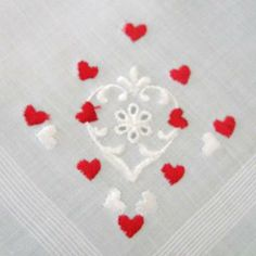 Vintage Handkerchief Valentine Embroidered Hearts Red on White Wedding Keepsake by CinfulOldies for $8.00