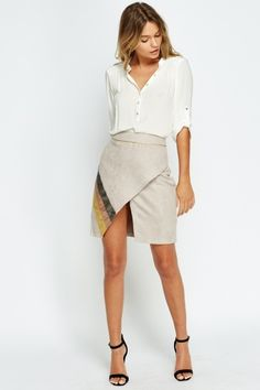 Suedette Contrast Wrap Skirt - 3 Colours - Just Saved Items, Get The Look, Latest Fashion, Contrast, Mini Skirts, Colours, Casual, Summer, Model