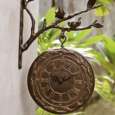 Rameau Outdoor Wall Clock U0026 Thermometer · Garden ClocksBird ...