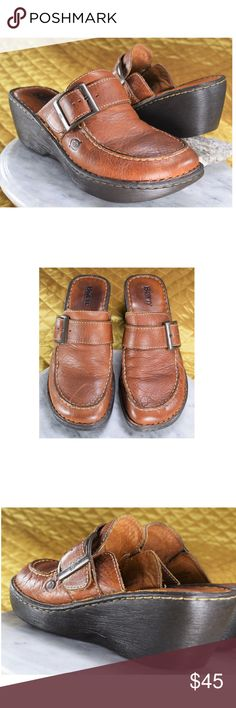 Born Brown Leather Mules Women's Size 9 These are Born brown full grain leather wedge mules in excellent condition!  **If you appreciate old school quality - you're in the right place. We don't just sell products, we put time & work into them. We ship FAST, usually within 1 business day! Thanks for visiting my Closet! Born Shoes Wedges