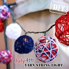 DIY Patriotic Holiday Yarn String Light – Top Easy July 4th & Spring Decor Design Project - Way To Be Happy (3)