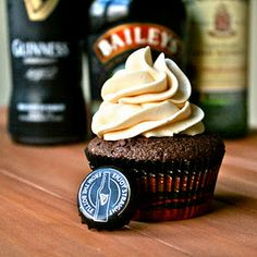 Irish Carbomb Cupcakes with chocolate ganache filling and Bailey's frosting