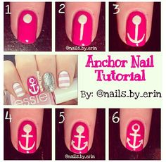 DIY anchor nail art tutorial - Looking for Hair Extensions to refresh your hair look instantly? KINGHAIR® only focus on premium quality remy clip in hair. Cute Nail Art, Nail Art Diy, Beautiful Nail Art, Diy Nails, Cute Nails, Pretty Nails, Diy Art, Essie, Anchor Nail Art