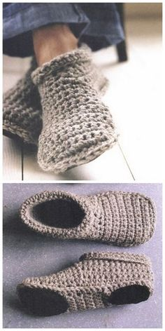 DIY Sturdy Crochet Slipper Boots Free Pattern from SMP Craft. (True Blue Me and You: DIYs for Creatives) : DIY Sturdy Crochet Slipper Boots Free Pattern from SMP Craft. I really like the look of these slippers…For more Free knitting ideas, head to ww Crochet Slipper Boots, Crochet Socks, Knit Or Crochet, Crochet Crafts, Crochet Clothes, Crochet Baby, Knitted Slippers, Slipper Socks, Knit Shoes