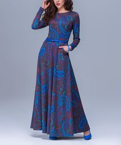 Look at this Blue Paisley Long-Sleeve Maxi Dress on #zulily today!
