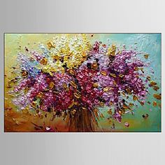 pintura a óleo pinturas florais / botânico decoração com flores mão abstrata telas pintadas com esticada enquadrado m / l / xl de 3349500 2016 por R$135,17
