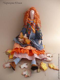 Tilda muñecas hechas a mano.  Masters Feria - hecho a mano.  Comprar arnés Boho.Sentyabr.Listya.  Hecho a mano.  Rojo