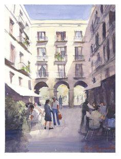 Plaça Reial, Barcelona. Watercolor