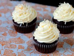 chocolate and coffee cupcakes with coconut frosting (devil's food cake mix)