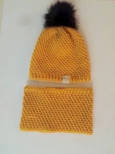 FIAhandmade / Horčicový set Knitted Hats, Winter Hats, Knitting, Tricot, Breien, Stricken, Weaving, Knits, Crocheting