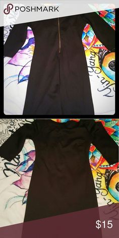 Black dress perfect for going out super cute off the shoulder, courter sleeve style few inches above the knee zip up in the back. Dresses Mini
