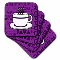 3drose Coffee Lover Gift Words Print Purple Soft Coasters Set Of