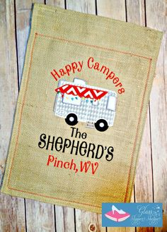 Camping garden flag! Your choice of design! Includes your name and your hometown below that! Your choice of hemmed or fringed finish. Your (Camping Ideas Creative)