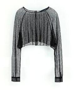 Black Grid Mesh Lace Long Sleeves Crop Tops