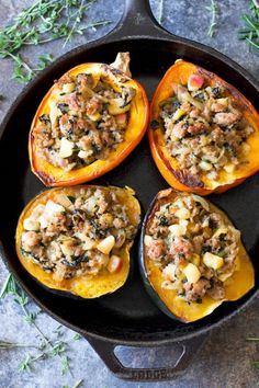 An incredible mix of sweet and savory flavors are packed into this caramelized onion apple and sausage stuffed acorn squash! Paleo & Whole. Healthy Food Alternatives, Healthy Recipes, Healthy Meals, Cuban Recipes, Sausage Stuffed Acorn Squash, Paleo Diet For Beginners, Acorn Squash Recipes, Apple Sausage, Sweet Italian Sausage