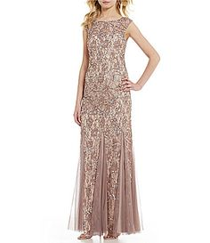 8fae8f2b5482a Adrianna Papell Beaded Lace Gown  Dillards Adrianna Papell