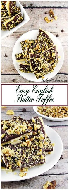Easy English Butter Toffee is simple, delicious and smooth covered with creamy chocolate and crunchy walnuts or almonds. Perfect for a holiday treat! via @berlyskitchen Fun Desserts, Delicious Desserts, Dessert Recipes, Autumn Desserts, Pastry Recipes, Snack Recipes, Butter Toffee, Peanut Butter Fudge, Yummy Treats