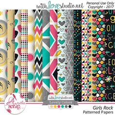 """Patterned Papers""""Girls Rock"""" by Aurélie Scrap. I love music, and here my famous girls !! Music is in the air !! I propose you this pack of papers which can only embellish your most beautiful photos. Here is my May 2017 Lovely Colors. #scrap #scrapbooking #digital #inspiration #DIY #lovelycolors #wls #withlovestudio"""