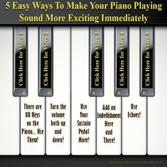 5 Easy Ways To Improve Your Piano Playing Immediately Without Additional Practice! Music Class, Music Education, Piano Lessons, Music Lessons, Piano Exercises, Singing Techniques, Piano Classes, Piano Teaching, Piano Sheet Music