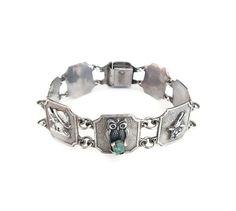 Silver Emerald Bracelet, 900 Silver, Animal Bracelet, Emerald Nuggets, Vintage Bracelet, Vintage Jewelry by zephyrvintage on Etsy