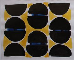 Anthony Benjamin - Abstract in yellow, black and blue  Painting in gouache circa 1962 available on www.retrosixty.co.uk