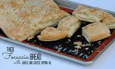 The Farm Girl Recipes: Thick Focaccia Bread with Garlic and Cheese Dipping Oil