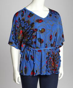 Take a look at this Blue Abstract Dolman Top - Plus by GLAM on #zulily today!