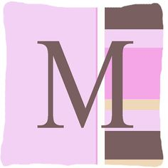 Letter M Initial Monogram - Pink Stripes Decorative Canvas Fabric Pillow
