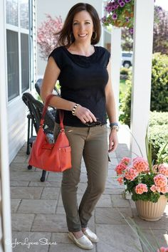 Outfit Inspiration: Black and Olive with a pop of color