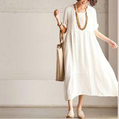 White casual linen sundress short sleeve maxi dress summer