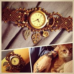 """Новая работа - часы #macrame #work #svitoe #handmade #micromacrame #boho #bohemian #brown #flower #leaves #beauty #watch #cat"" Photo taken by @akielena on Instagram, pinned via the InstaPin iOS App! http://www.instapinapp.com (12/14/2014)"