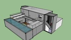 3D Model of shipping container dynamic home with courtyard,