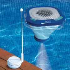 Listen to your iPod in the pool with a floating pool speaker and transmitter!  Find all of your swimming pool accessories and pool chemical needs at www.doheny.com
