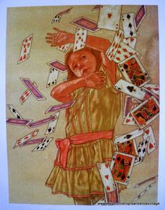 This print shows Alice in a tornado of playing cards, just before her sister wakes her. Description from etsy.com. I searched for this on bing.com/images