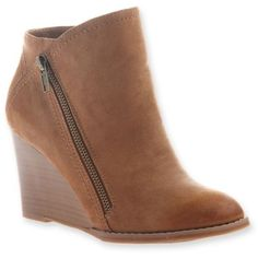 Hokus Pokus  Tan Up Hill Wedge Bootie - Women's ($33) ❤ liked on Polyvore featuring shoes, boots, ankle booties, tan, wedge sole boots, wedge booties, wedge boots, short wedge boots and wedge heel boots