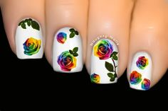 WILD SERIES Nail Art Water Transfer Decal Sticker ♥ Rainbow Rose ♥ BOP-192