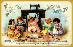 """In the 19th century it was the custom for groups of women to gather in """"Dorcas Societies"""" to sew garments for the poor. Here's Singer's advertising take on this custom. The Earl J. Arnold Advertising Card Collection 1885: page 169 -- Singer sewing, Wilcox & White organs"""