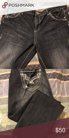 Authentic Hydraulic Distressed Jeans NWOT...never worn. Dark Wash Distressed Straight/Skinny Jeans Hydraulic Jeans Skinny