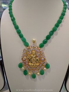 Gold Emerald Beaded Necklace Designs, Gold Beaded Necklace Designs 2016, Gold Necklace with Green Emerald Beads.