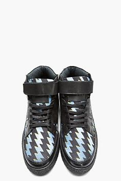 KENZO Black Leather-TRimmed Canvas Thyunder Sneakers