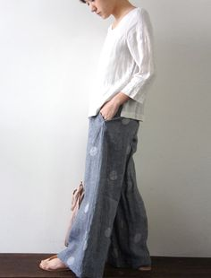 wide woven easy pant button fly