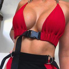 292fb72a1da34 Unbuckle me Bralette. llenora. Aproms Summer Sexy V Neck Buckle Crop Top  Women ...