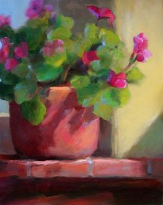 """ROOFTOP GERANIUMS-SAN MIGUEL DE ALLENDE by Patricia Clayton Oil ~ 10"""" x 8"""" Love the colors of this little painting on the FASO Daily Art Show http://dailyartshow.faso.com/dailyartshow/"""