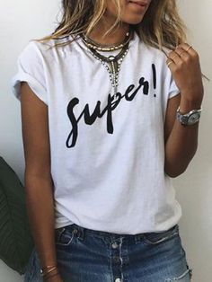 Brief Round Collar Short Sleeves Letter Print Women's T-Shirt - G