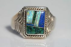 Vintage Men's Navajo Style Sterling Silver Turquoise Opal Signet Ring Size 13 | eBay