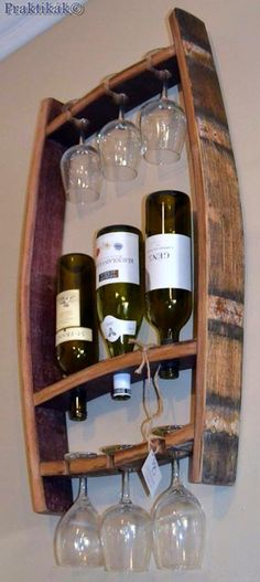 Where do you keep your wine glasses? Is it a hanging wine glass rack, a cabinet, one of those traditional wine glass holders or something completely differ * Continue with the details at the image link. Barrel Projects, Wood Projects, Woodworking Projects, Woodworking Plans, Woodworking Jointer, Wine Bottle Glass Holder, Wine Glass Holder, Bottle Opener, Wine Barrel Crafts