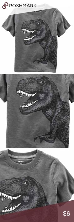 NWT - Carters TRex Short Sleeve Tee, 6 Months Adorable little Tee. Never Worn. Comes from a smoke free home. Sleeve Length: Short Sleeve Fabric Description: Cotton Fabric Content: 100% Cotton Carter's Shirts & Tops Tees - Short Sleeve