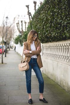 In today's post I've put together a chic Spring outfit with a camel blazer, boyfriend shirt, straight leg jeans and some backless loafers or loafer mules, whatever we're meant to be calling them!
